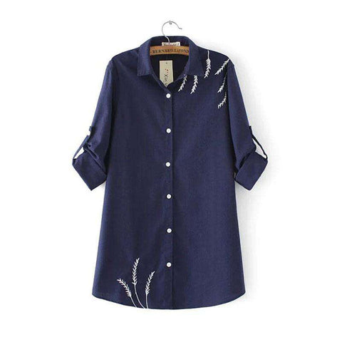 Embroidery Long Sleeve Cotton Linen Tunic Blouse