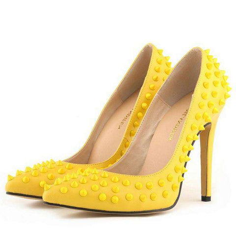 11 cm Point Toe High Heel Rivet Women's Pumps