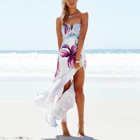 Strapless Maxi Floral Print Tube Backless Split Slim Beach Dress White