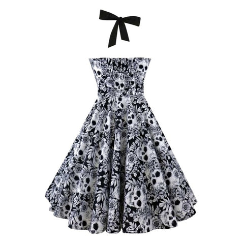 Skull Butterfly Printed Strapless Halter Bowknot Gothic Dress Black