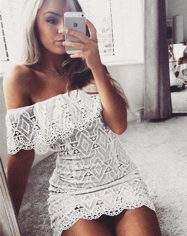 Off Shoulder Party Short Sleeve Slash Neck Strapless Lace Mini Dress White