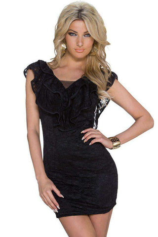 Flounce V-neck Lace Sheath Mini Dress Black
