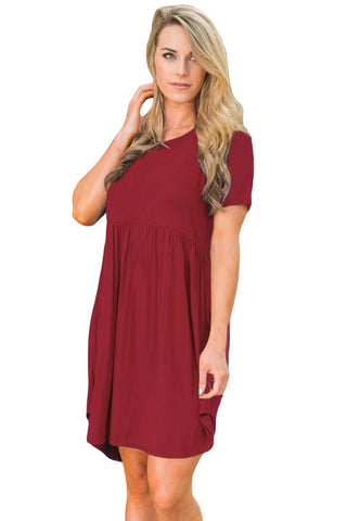 Short Sleeve Pullover Babydoll Style Casual Dress Wine Red