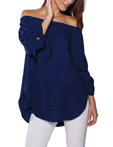 Dark Blue Off The Shoulder Top Blouse