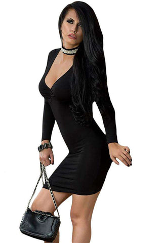 Cross Back Long Sleeve Bodycon Mini Dress Black