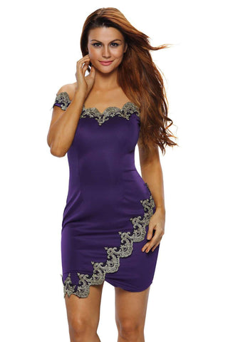 Gold Lace Applique Off Shoulder Mini Dress Purple