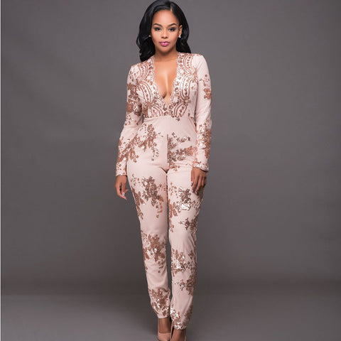 Slim V-Neck Long Sleeve Lace Gold Sequin Long Pants Jumpsuit