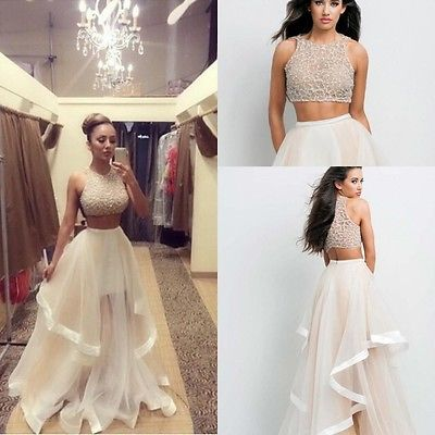 Two Piece Long Evening Party Dress Champagne
