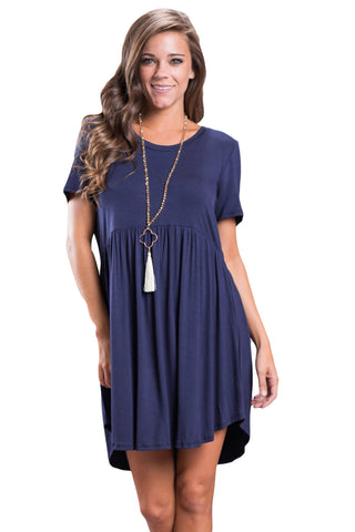 Short Sleeve Pullover Babydoll Style Casual Dress Navy Blue