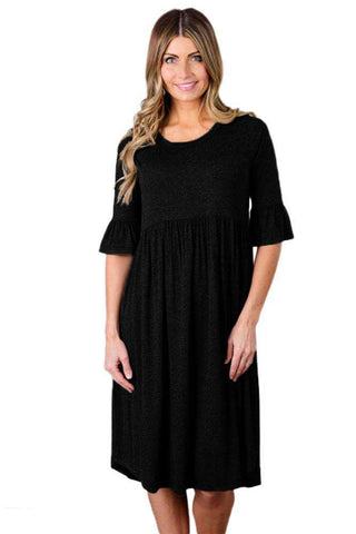 Ruffle Sleeve Midi Jersey Dress Black