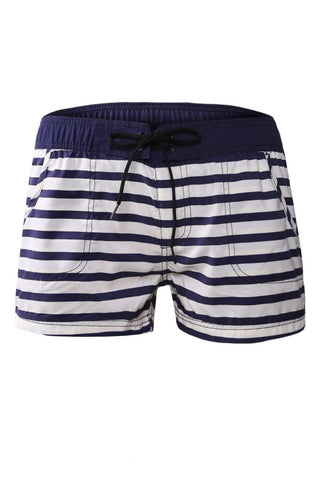 Nautical Striped Board Shorts with Pockets