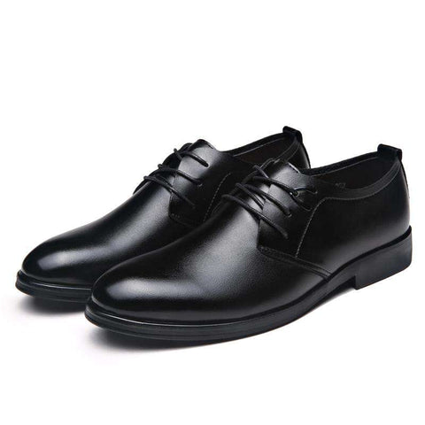 Men's Pointed Toe Lace Up Formal Leather Black Shoes