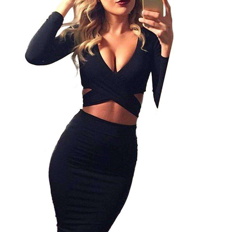 Long Sleeve Cut-Out Bandage Bodycon Midi Dress Black
