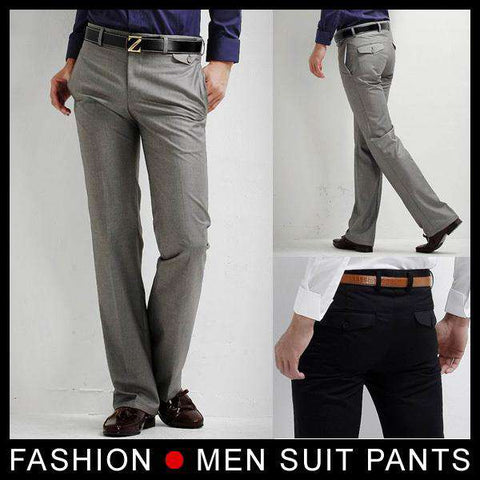 Men's Slim Fit Formal Straight Dress Pants Grey
