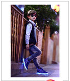 USB Charging Sole Luminous Sneakers Top Led Shoes