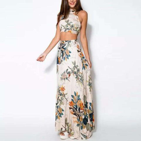 Flower Print Spaghetti Strap Backless Floral Casual Two Piece Dress