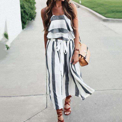 Chiffon Ruffle Sleeveless Two Piece Long Striped Dress White