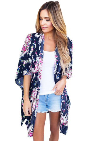 Open Front Kimono with Printed Florals in Navy