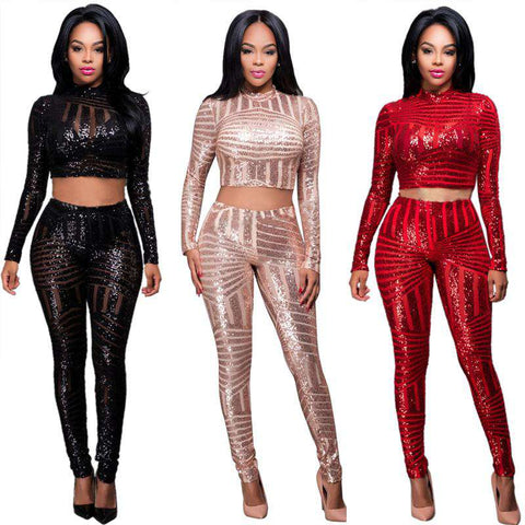 Sequined Pants Two Piece Set Print Camis Dress Black Red