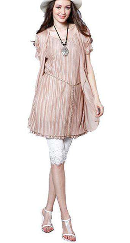 Mini Pleated Short Sleeve Chain Belt Dress Beige