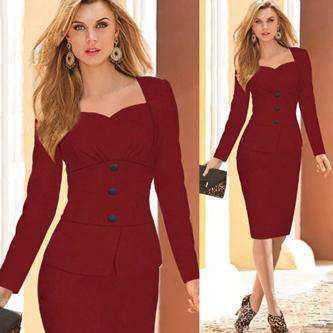 Long-Sleeved Button Decoration Self-Cultivation Pencil Dress Navy