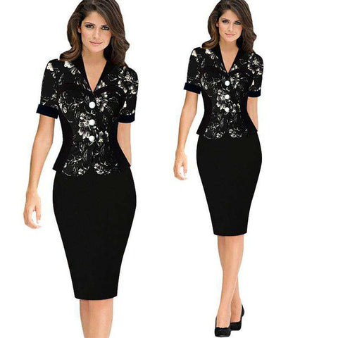 V-Neck Lotus Leaf Slim Package Hip Formal Pencil Dress Black
