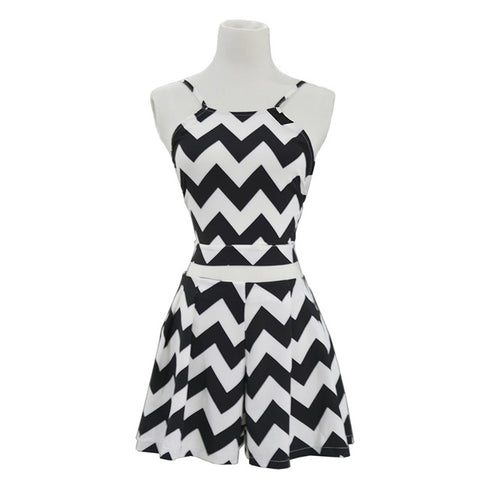 Striped Two Piece Set Slash Neck Beach Dress Black&White