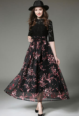 Stand Collar Gauze Splicing Half Sleeve Flower Lace Dress Black