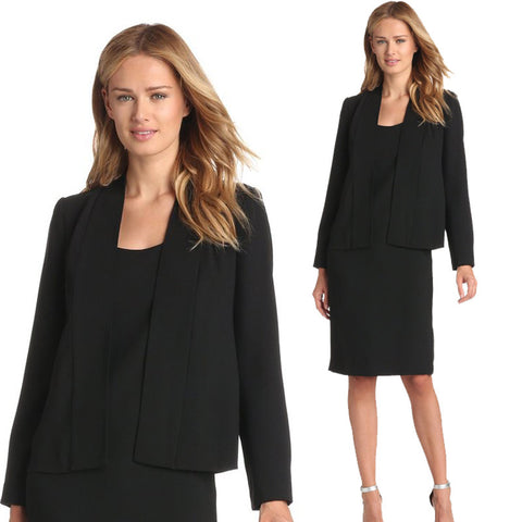 Two Piece Set Long Sleeve Casual Square Collar Dress Black