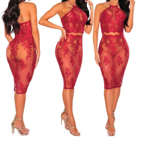 Backless Lace Mesh See Through Two Piece Dress Red