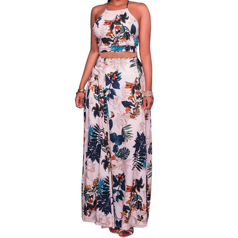 Beach Strap Floral Printed Bohemian Two Piece Dress Ivory