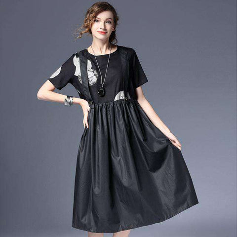 Cotton Short Sleeve Loose Strap Dress O-Neck Black