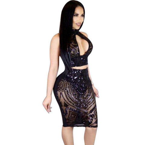 Hollow Out Two Piece Halter Crop Top And Skirt Backless Dress Black