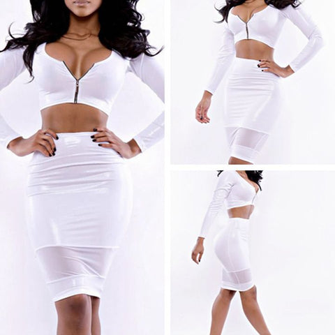 Two Piece Long Sleeve Bandage Club Bodycon Mini Dress White