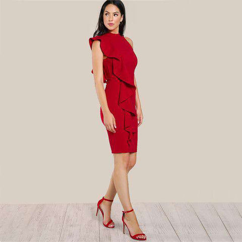 High Neck Ruffle One Side Frill Bodycon Dress