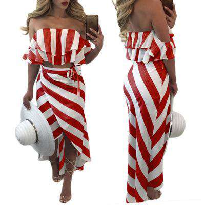 Beach Two Pieces Striped Maxi Strapless Bandage Irregular Dress Red White