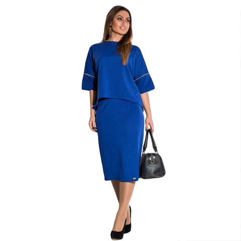 Two Piece Suit Dress Professional Blue