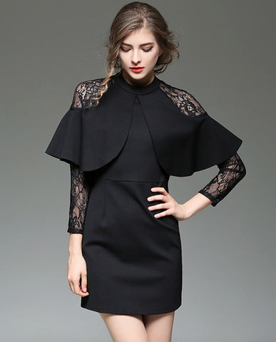 Top Tee Long Sleeve Lace Perspective Slim Shirt Dress Black