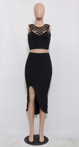 Two Piece Club Wear Sleeveless Bandage Bodycon Dress Black