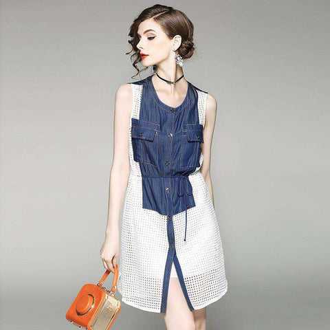 Sleeveless Hollow Out Patchwork O-Neck A-Line Two Piece Dress