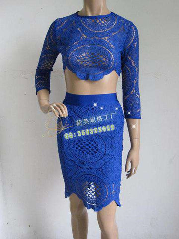 Lace Casual Two Piece Cocktail Party Bandage Dress Blue