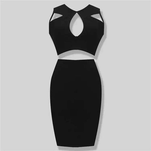 Stretch Knit Tight Two Piece Cocktail Party Bandage Dress Black