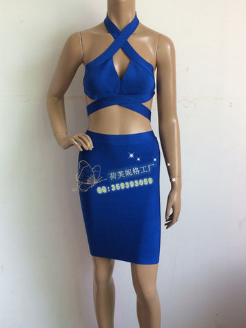 Two Piece Stretch Nightclubs Cocktail Party Bandage Dress Blue