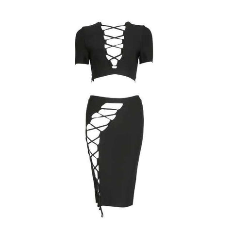 Hollow Out Two Piece Cocktail Party Bandage Dress Black