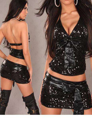 Online Boutique Two Pieces Shiny Sequin Mini Bodycon Black Dress