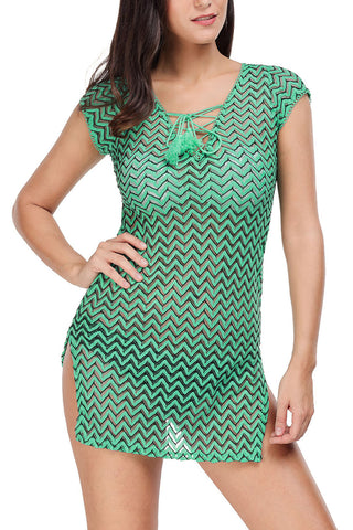V Neck Lace Up Cover Up Dress Green