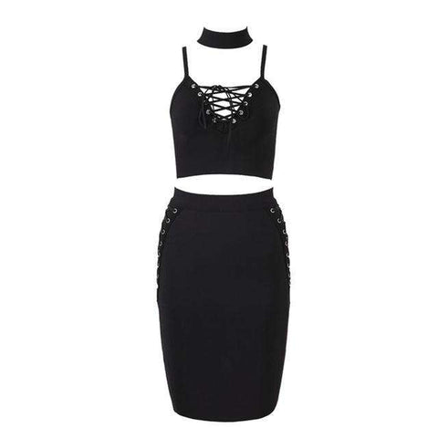 Bandage Party Spaghetti Strap Two Piece Set Halter Dress Black