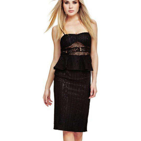 Party Spaghetti Strap Two Piece Set Lace Dress Black
