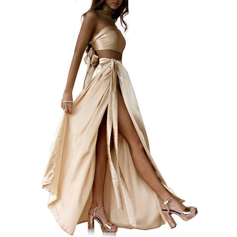 Strapless Sleeveless Split Party Maxi Peach Skirt