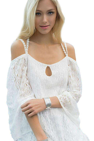 Beachwear White Strappy Off Shoulder with Crochet Lace